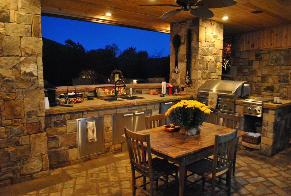 King NC Pool Landscaping, Outdoor Kitchen and Patio ... on Outdoor Kitchen With Pool Ideas id=33550